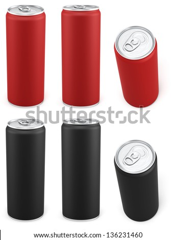 Red and black aluminum cans in different views - stock photo