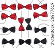 red and black, black and white bow-tie isolated on a white background - stock photo