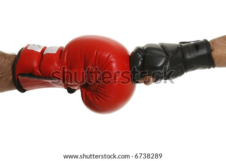 Red and black boxing gloves - stock photo