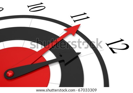 red and black clock isolated over a white background