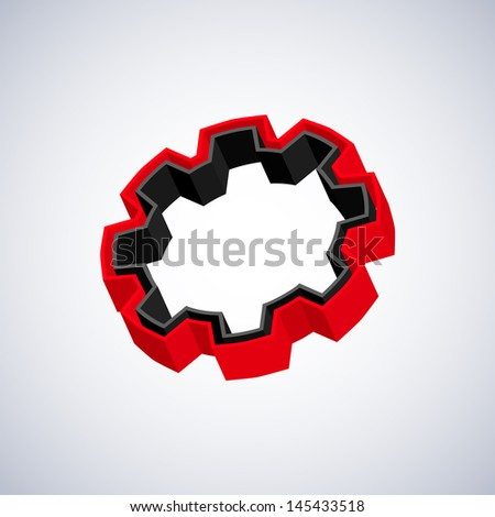Red and black 3D gear on white background - stock photo