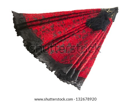 red and black hand fan with brush isolated - stock photo