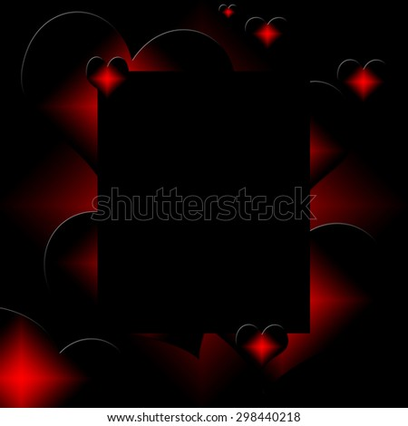 red and black hearts on black background illustration - stock photo