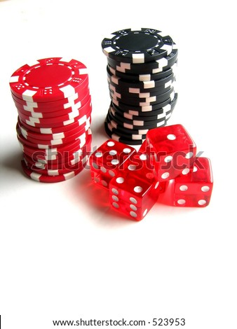 Red and black poker chips; red dice