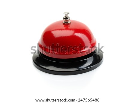 Red and black Service bell ring on a white background. - stock photo