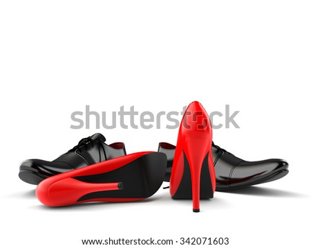 red and black shoes