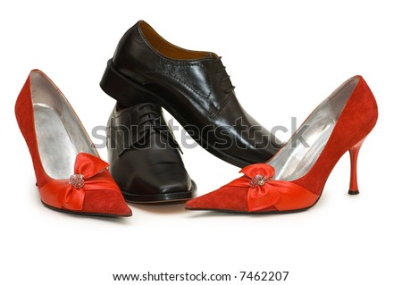 Red and black shoes isolated on the white