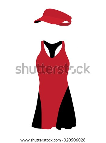 Red and black tennis dress with hat, cap, sportswear, sport clothing, tennis clothing - stock photo