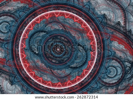 Red and blue abstract mechanical background - stock photo