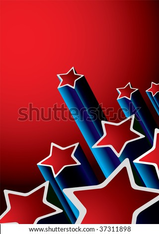 red and blue abstract seventies background with shooting stars