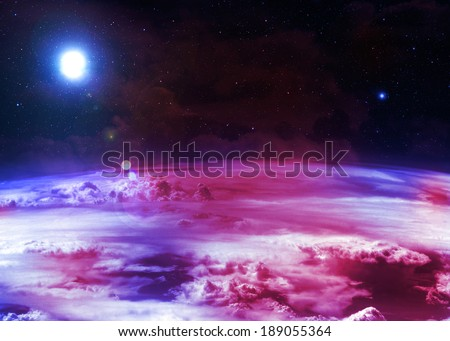 Red and Blue Atmosphere - stock photo