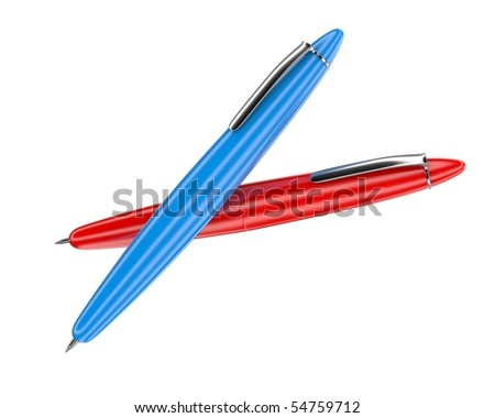 Red and blue ballpoint pens isolated on white