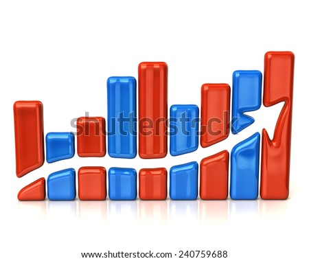 Red and blue business graph - stock photo