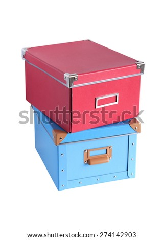 Red and blue cardboard boxes isolated on white with clipping path