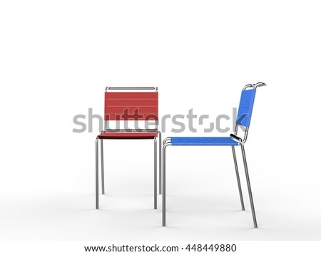 Red and blue chairs side by side - on wite background - 3D render