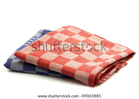 red and blue checkered kitchen towels on a white background