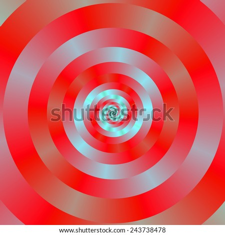Red and blue Circular Spiral / A digital abstract fractal image with a concentric ring spiral design in red and pale blue. - stock photo