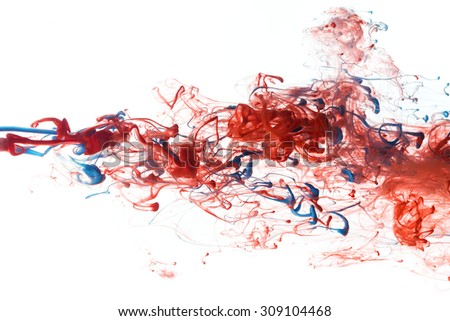 Red, and blue color ink paint abstract pattern in water liquid - stock photo