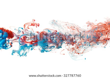 Red and blue color ink paint abstract pattern in water liquid