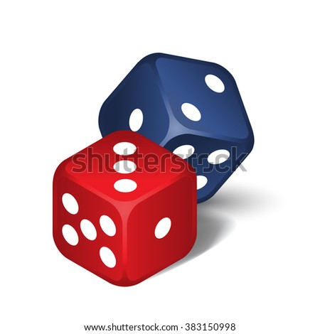 Red and blue dices isolated on the white background  - stock photo