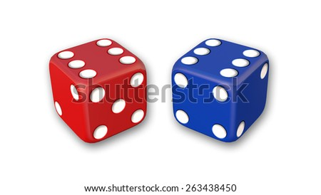 Red and blue dices isolated on white background - stock photo