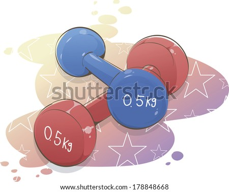 Red and blue exercise dumbbells