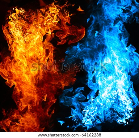 Red and blue fire on balck background - stock photo