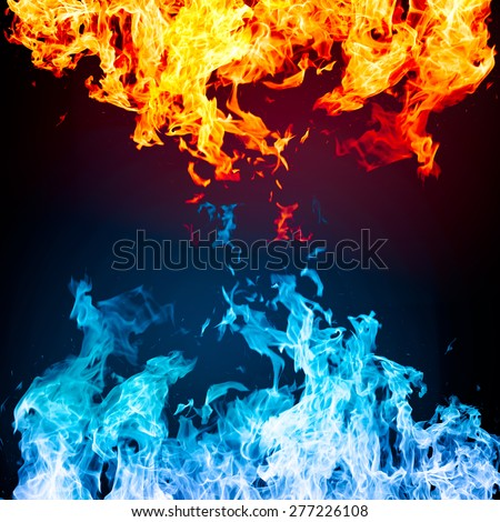 Red and blue fire on black background - stock photo