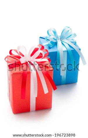Red and blue gift box isolated on white
