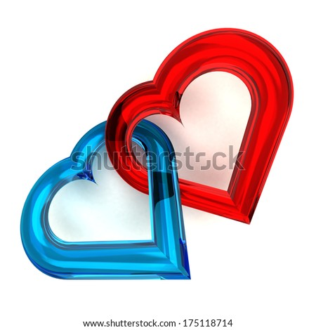 red and blue glassy heart together isolated on white illustration