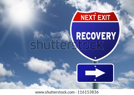Red and blue interstate road sign Next Exit Recovery