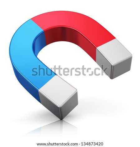 Red and blue metal horseshoe magnet isolated on white background with reflection effect - stock photo