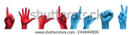 red and blue painted hands pack over white background - stock photo