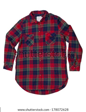 Red and blue plaid shirt fashion. Isolate on white. - stock photo