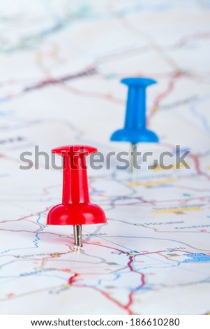Red and blue pushpin showing and pointing the location of destination point on map Ankara, Turkey. - stock photo