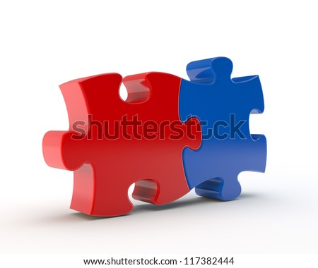 red and blue puzzle together - stock photo