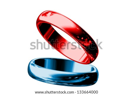 Red and blue rings isolated on white background. - stock photo