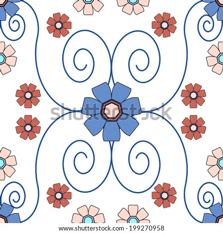 Red and Blue Seamless Floral Tile - stock photo