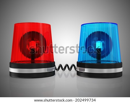 Red and Blue Siren System on black gradient background - stock photo