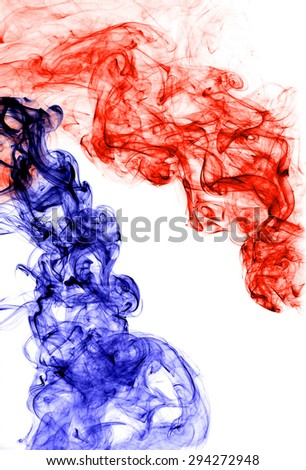 red  and blue smoke on white background,fire and ice  - stock photo