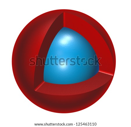 red and blue sphere on white background - 3d illustration - stock photo