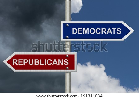 Red and blue street signs with blue and stormy sky with words Republicans and Democrats, Republicans versus Democrats - stock photo