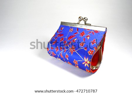 Red and blue vintage change purse