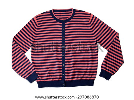 Red and blue wool sweater in the studio, isolate on white. - stock photo