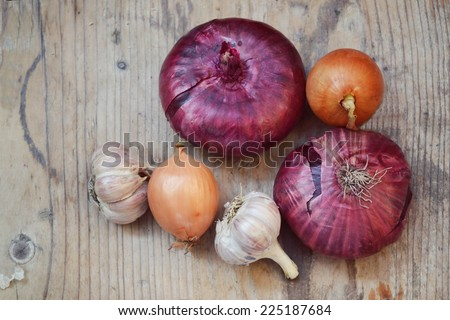 Red and bulb onions with whole organic garlic on wooden table - stock photo