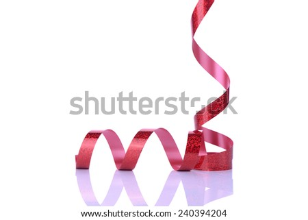 red and curly ribbon on white, valentines day concept - stock photo