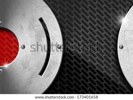 Red and Dark Metal Abstract Background / Black and red abstract background with metallic grid and metal circles with screws