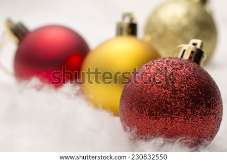 Red and gold Christmas baubles - Stock Image  - stock photo