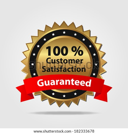 Red and Gold Customer Satisfaction Badge. (EPS vector version also available in portfolio) - stock photo
