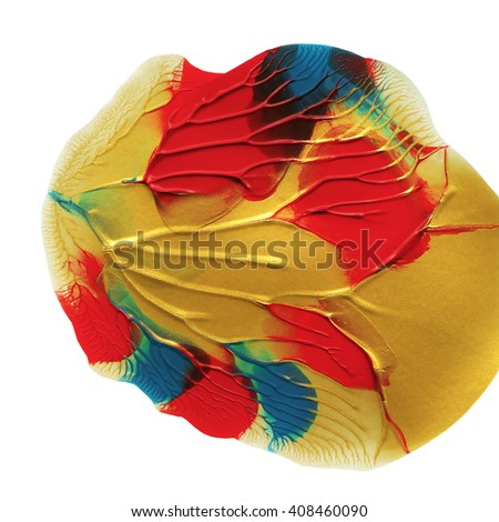 Red and gold design element,hand painted,acrylic - stock photo